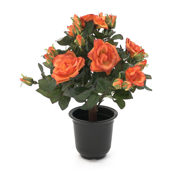 Artificial Small Potted Rose Shrub - Red
