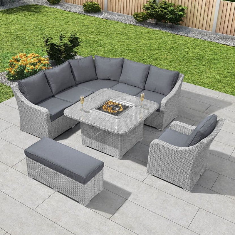 Nova - Deluxe Harper Corner Garden Set with Firepit - White Wash