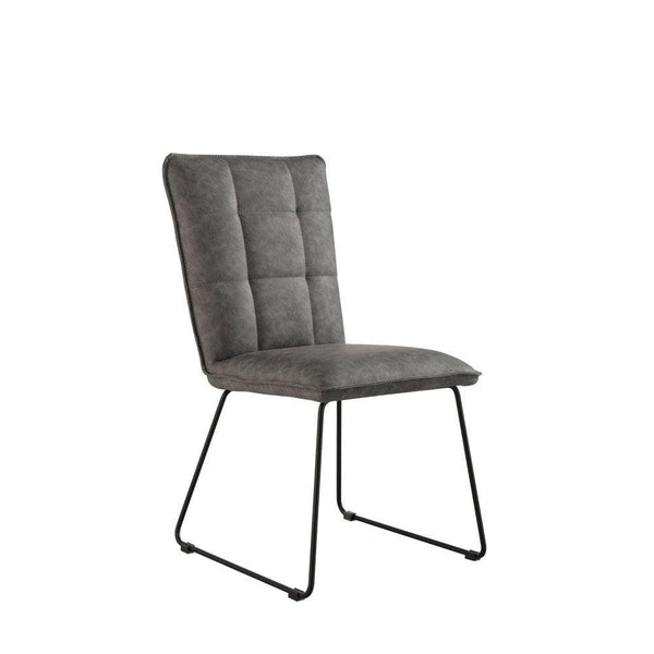 Mill Dining Chair - Grey Leather / Angular Legs
