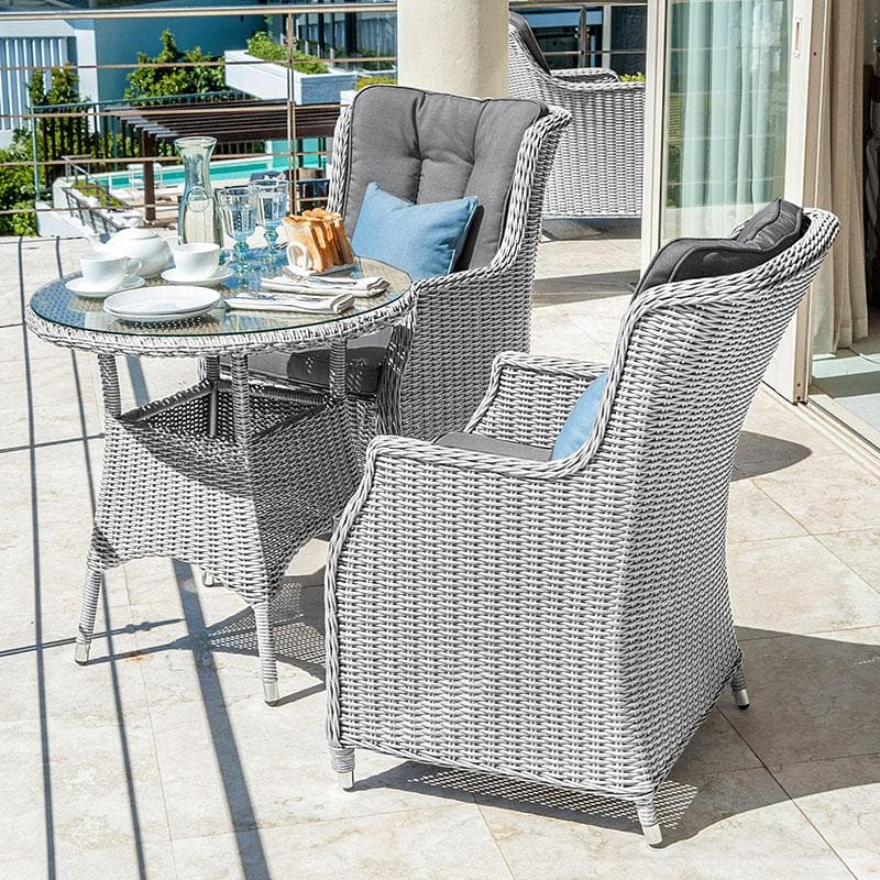 Nova - Heritage Thalia 2 Seat Rattan Bistro Set - 75cm Round Bistro Table - White Wash ** PRE ORDER FOR JANUARY**