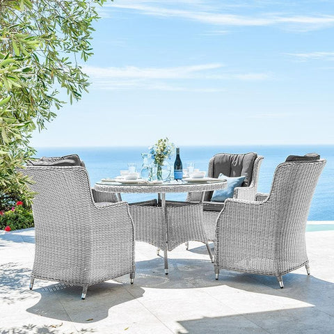 Nova - Heritage Thalia 4 Seat Rattan Dining Set - 1.2m Round Table - White Wash