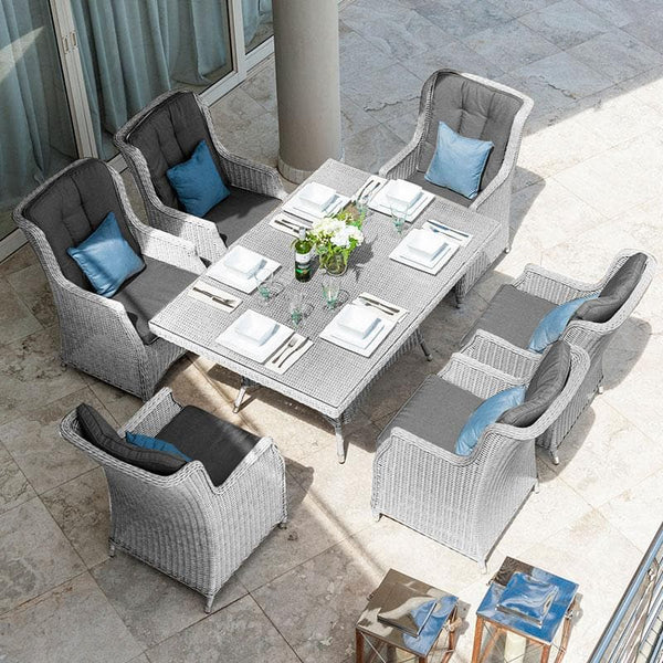 Nova - Heritage Thalia 6 Seat Rattan Dining Set - 1.5m x 1m Rectangular Table - White Wash