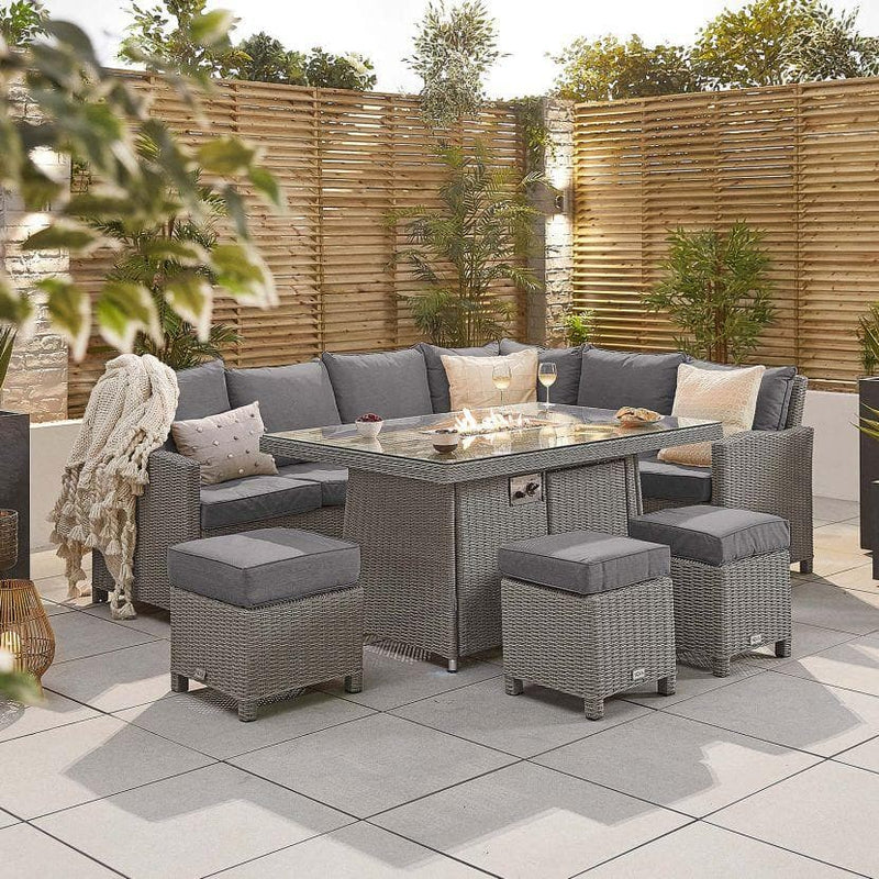 Nova - Ciara Corner Dining Set with Fire Pit Table - Right Hand - White Wash