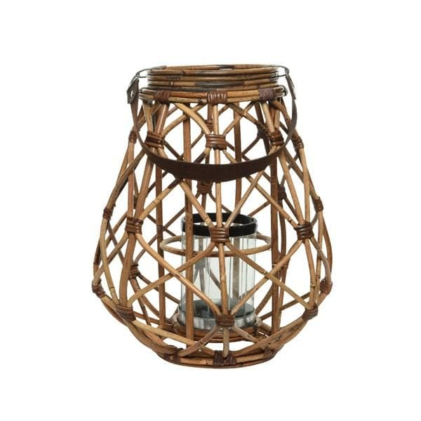 Rattan Lantern with Glass Candle Holder - Large