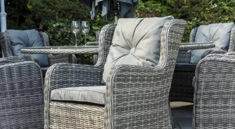 Katie Blake - Seville Luxury 6 Seat Round Garden Dining Set - Grey/Pepper Grey