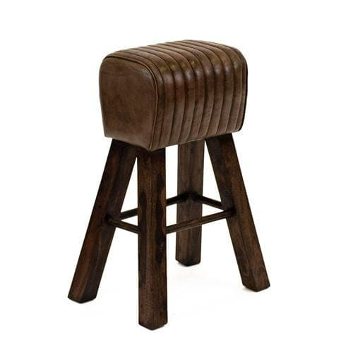 Tall Brown Leather Stool