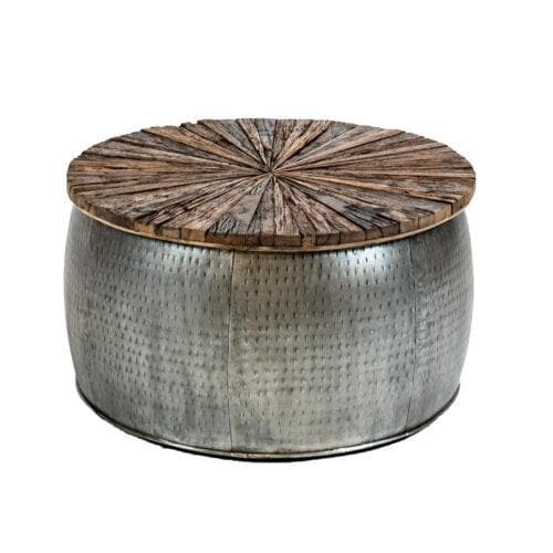 Rail Track Drum Coffee Table- Medium