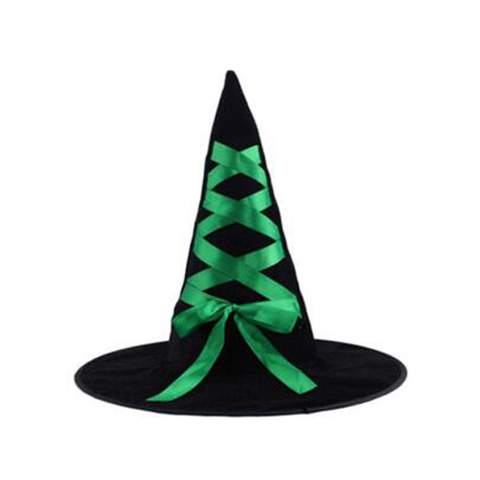 Child's Black Witch Hat with Ribbon - Green