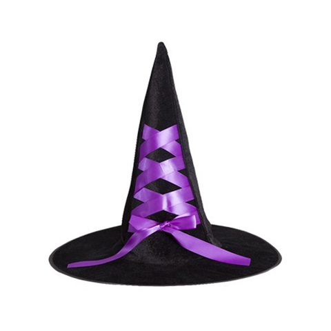 Child's Black Witch Hat with Ribbon - Purple