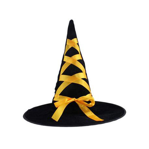 Child's Black Witch Hat with Ribbon - Yellow