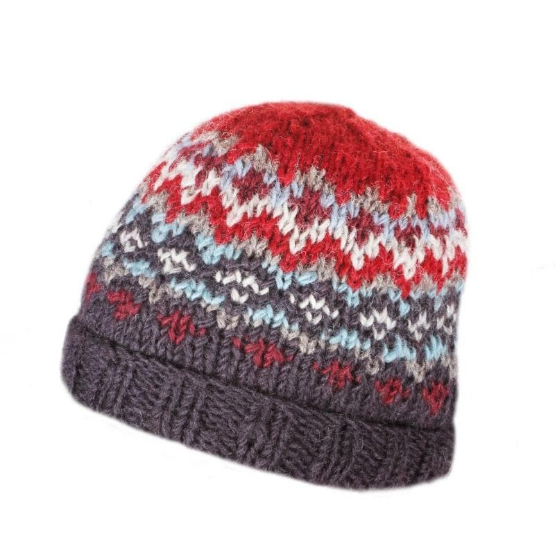 Mens Clifden Red Knitted Beanie Hat