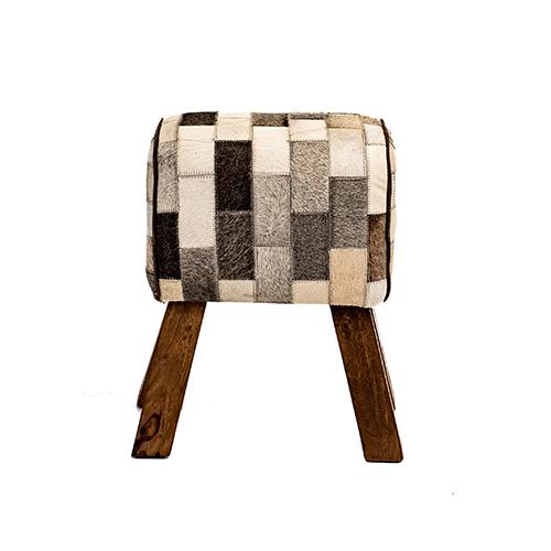 St Emilion Patchwork Hide Small Stool