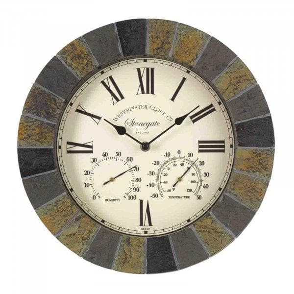 Stonegate Wall Clock & Thermometer 14in