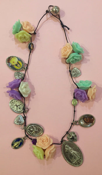 Icon and Flowers Charm Necklace