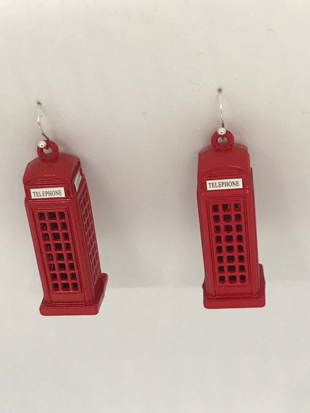 English telephone booth earrings
