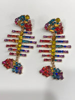 Rainbow fish bone earrings