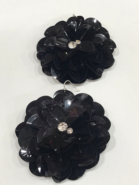 Black sequin flower earrings