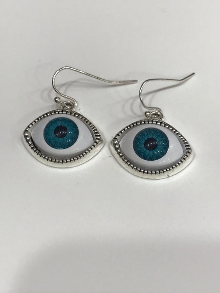 Silver blue eye earrings