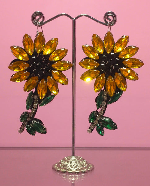 Diamonte Sunflower Earring