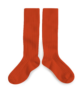 KIDS RIBBED KNEE SOCKS | ORANGE