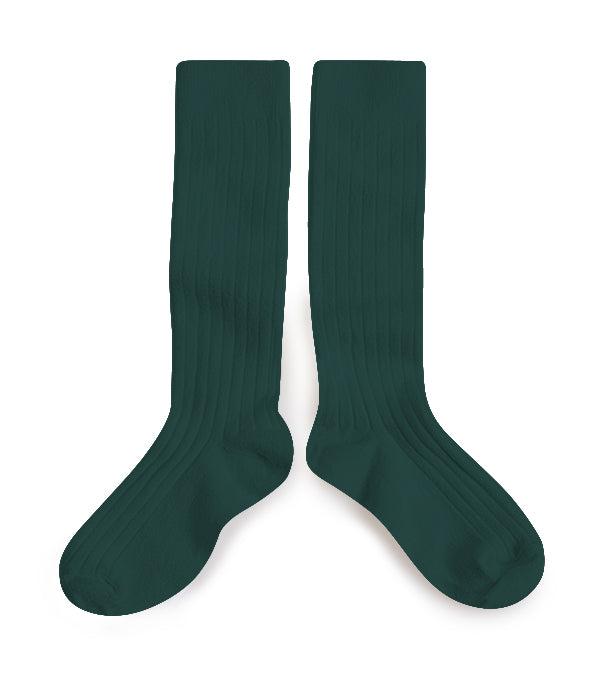 KIDS RIBBED KNEE SOCKS - DEEP SEA GREEN