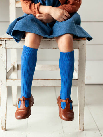 KIDS RIBBED KNEE SOCKS - COBALT BLUE
