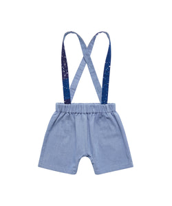 FINNERY DUNGAREES SHORTS - LIGHT WASH