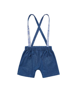 FINNERY DUNGAREES SHORTS - MEDIUM WASH