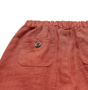 Pure Linen Trousers - Sunset Orange