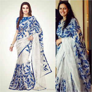 #dearsakhi Vijaya Prasad Bhargav loved the Silver Tissue designer saree with Indigo applique embroidery by SakhiFashionsSaree