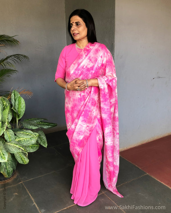 EE-S23321 Rose Pink Sequin saree