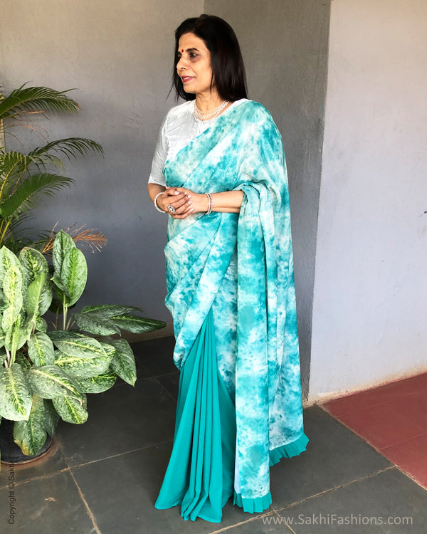 EE-S23319  Rama Green Sequin saree