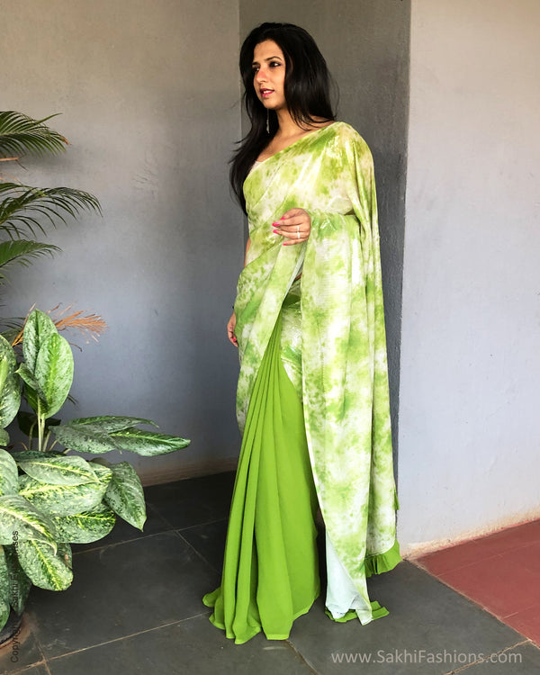 EE-S23320  Chutney Green Sequin saree