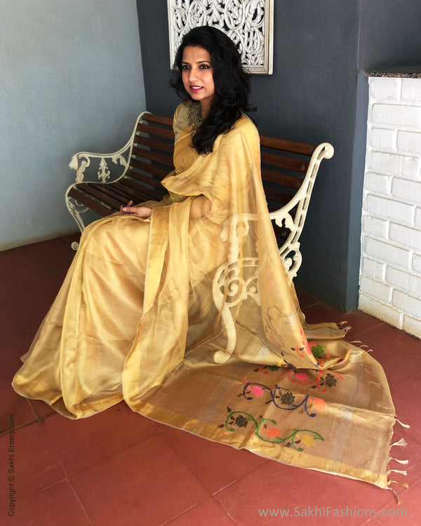 EE-S25200 Golden Tissue Sari