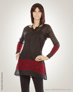 Black & Red Pure Cotton Kurti