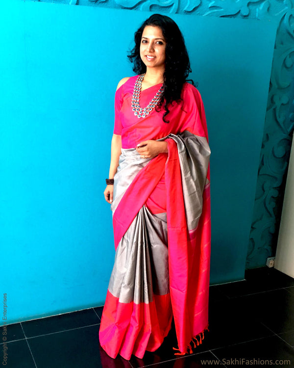 EE-S22785 - Pink & Grey pure Kanchivaram silk saree