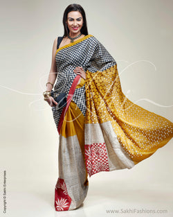 SR-0358 Mustard & Black Tussar Silk Saree