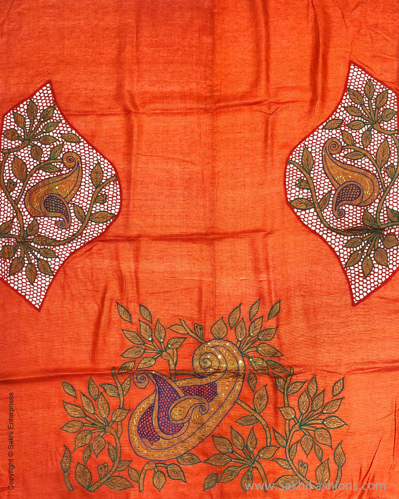 BL-F11102 Orange Tussar Cutwork