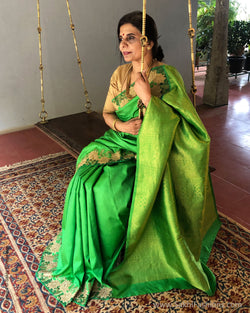EE-R22174 Green Kanchi Cutwork