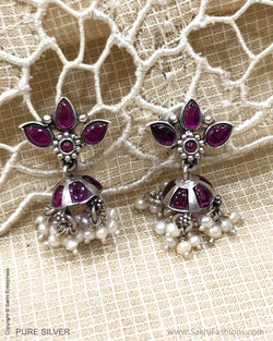 ASDS-24166 Silver Earring With Maroon Stone