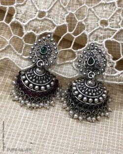 ASDS-24169 Silver Earring With Maroon Stone