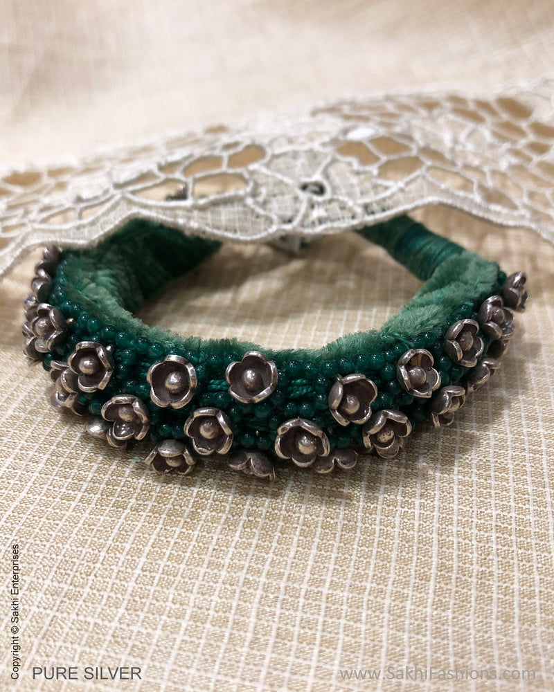 ASDS-24719 - Pure Silver With Multi Green Beeds & Thread Bracelet