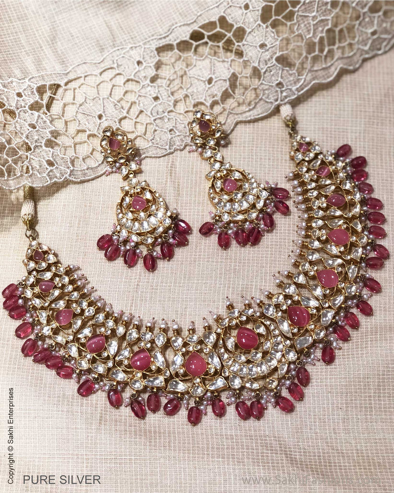 ASDS-24722 - Pure Silver With Gold Plated & Multi Color Stone Necklace & Earring
