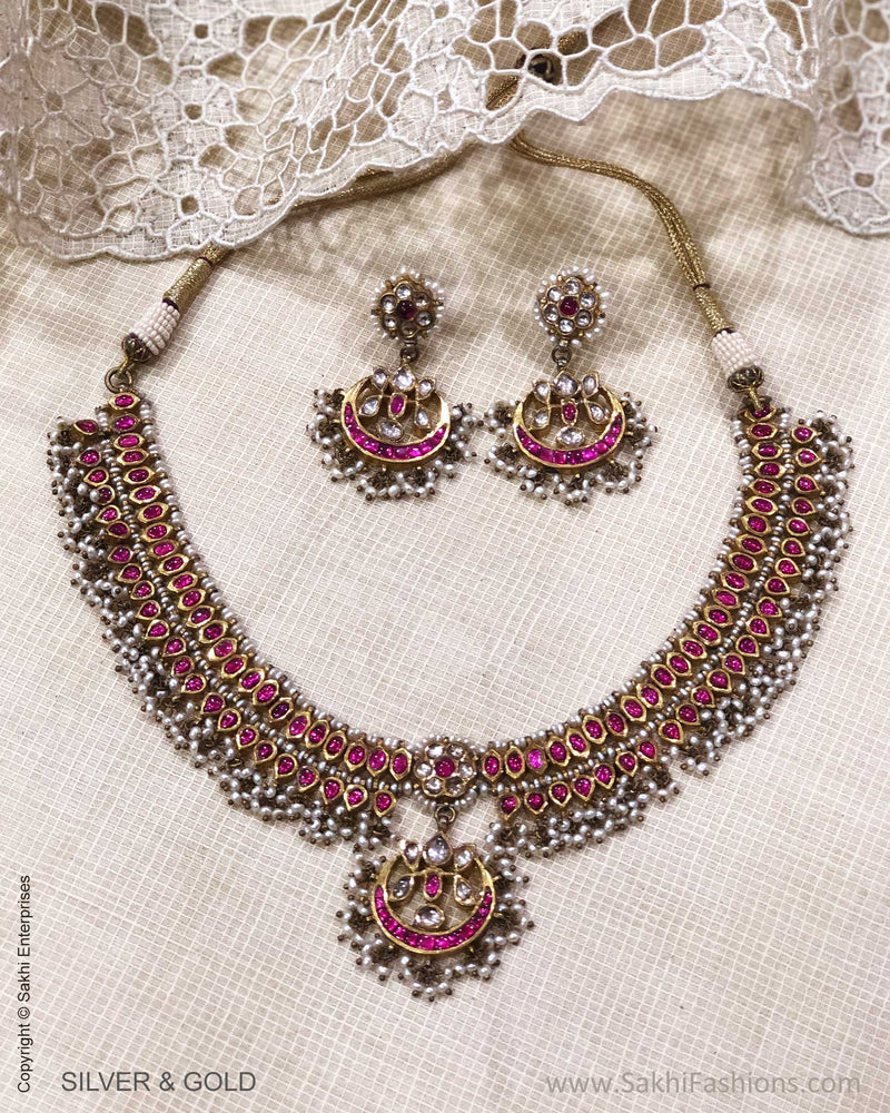 ADDS-24841 - Pure Gold & Silver With Multi Stone & Pearl Kundan Designed Necklace & Earring