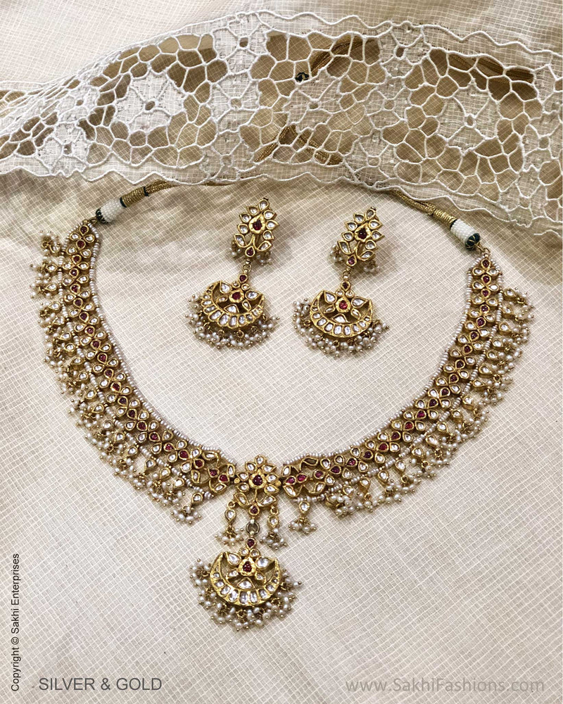 ADDS-24842 - Pure Gold & Silver With Multi Stone & Pearl Kundan Designed Necklace & Earring