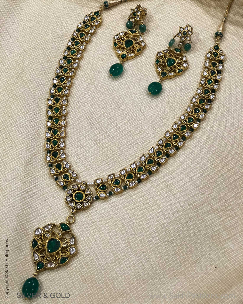 ADDS-24843 - Pure Gold & Silver With Multi Stone & Beeds Designed Necklace & Earring