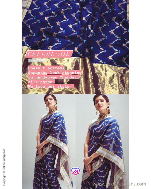 EE-S268412 Blue Resham Chanderi
