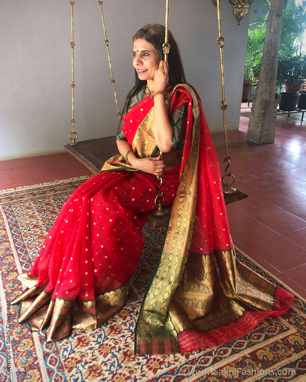 EE-S26839 Red Katan Chanderi