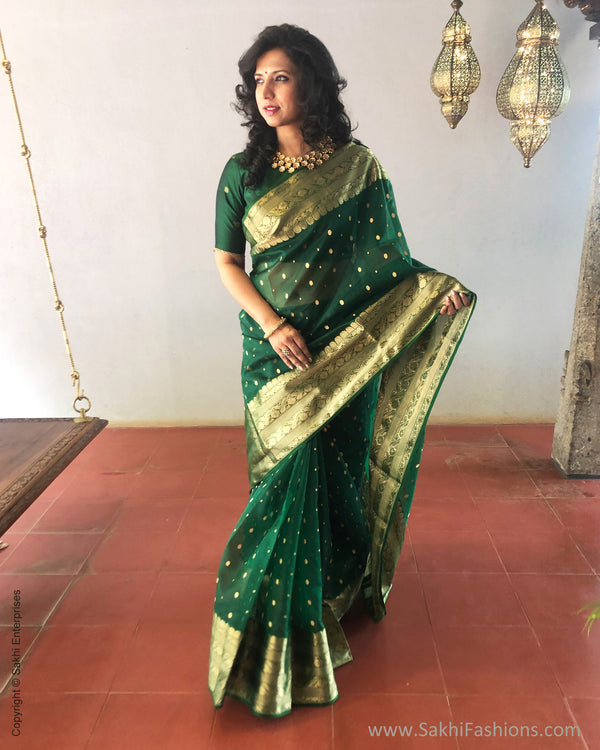 EE-S26840 Green Katan Chanderi