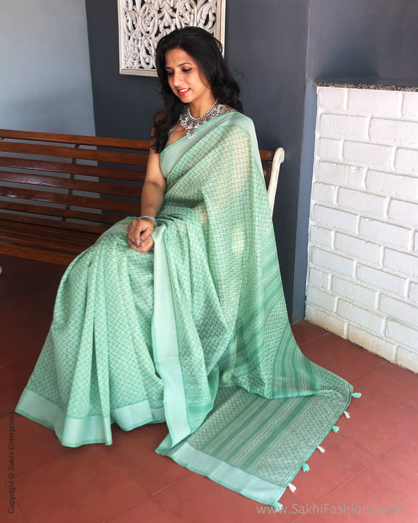 EE-S28535 Chevron Green sari